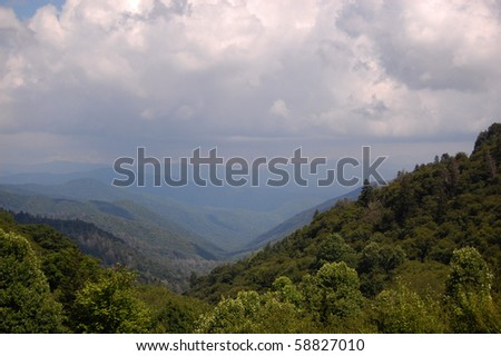 Smoky Mountains - mountains and valleys and clouds - stock photo
