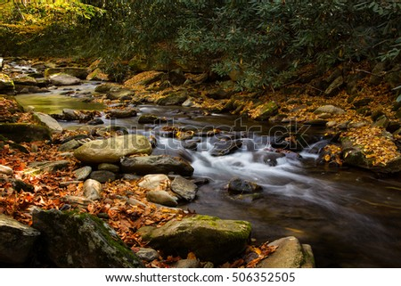 Smoky Mountains National Park river flowing in autumn with colorful leaves and mossy rocks