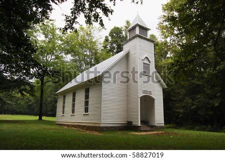 Smoky Mountains Palmer Chapel, Cataloochee valley - stock photo