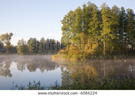 Smoky pond in the morning