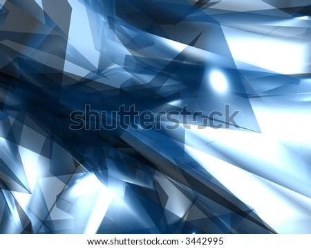 Smooth Blue Chrystal Flames Abstract Backrgound