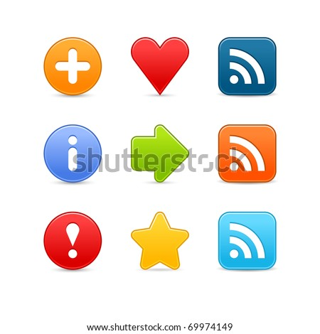 Smooth color set web 2.0 internet button with shadow on white background. Bitmap copy my vector ID: 54854311