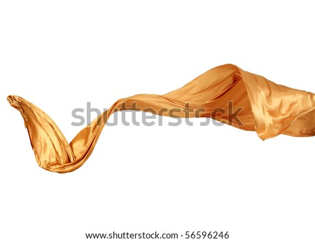 Smooth elegant golden satin isolated on white background - stock photo