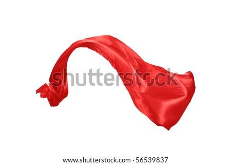 Smooth elegant red satin isolated on white background - stock photo