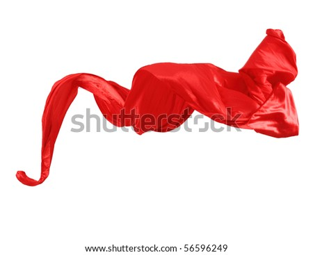 Smooth elegant red satin isolated on white background - stock photo
