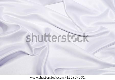 smooth elegant white silk background - stock photo
