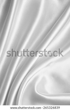 Smooth elegant white silk or satin can use as wedding background  - stock photo