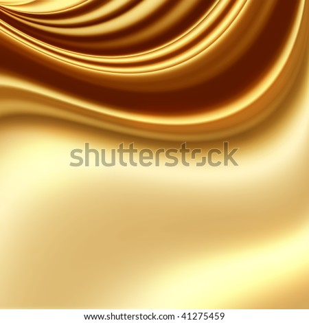 Smooth golden fabric - stock photo