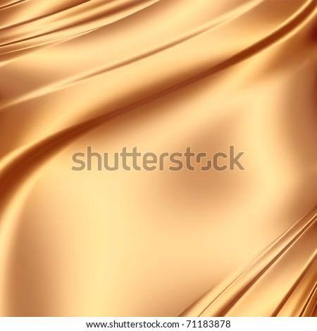 Smooth golden satin - stock photo