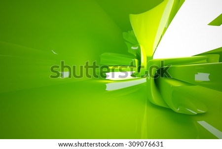 Smooth green interior. 3D illustration. 3D rendering - stock photo