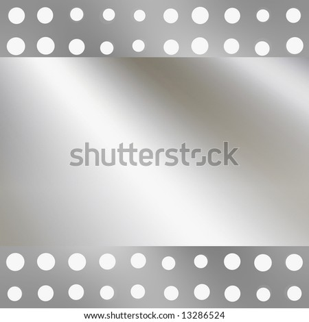 Smooth Metal Plate With Holes - stock photo