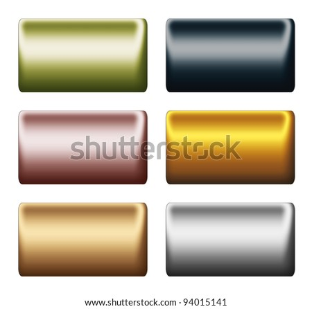 smooth metal push buttons or bars, clipart boards in different colors, backgrounds to insert text or design - stock photo