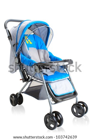 Smooth pram stroller carriage for young baby the image isolated on white - stock photo