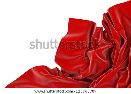 Smooth red elegant fabric isolated on white background
