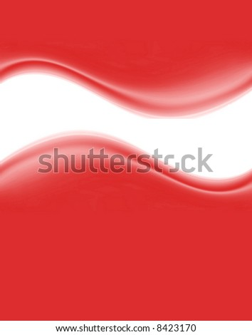 Smooth Red Waves Background With Copyspace - stock photo