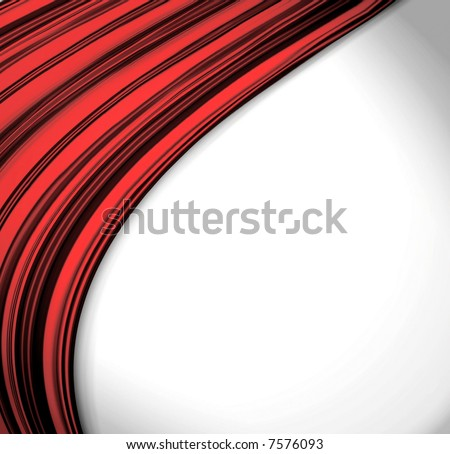 Smooth Red Waves On White - stock photo