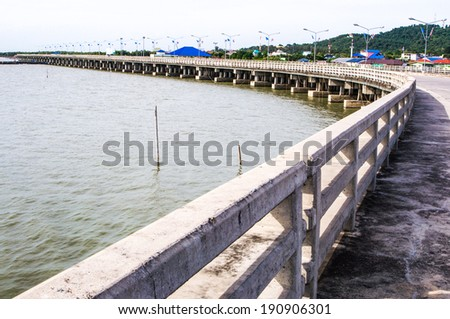 Smooth sea concrete bridge in Thailand - stock photo