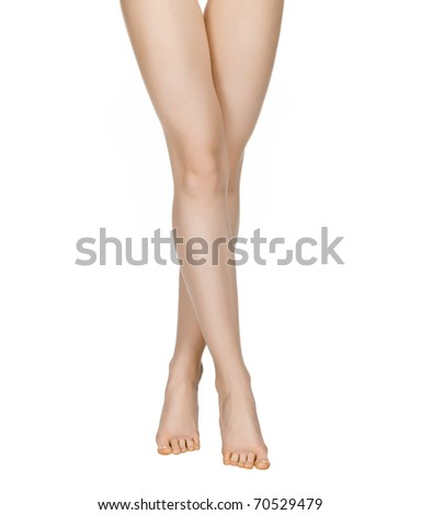 Smooth,sexy and beautiful female legs isolated on white background. - stock photo
