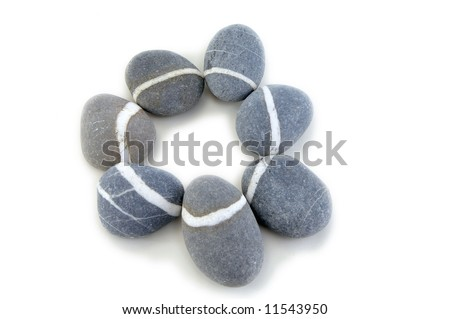 smooth stone on white background - stock photo