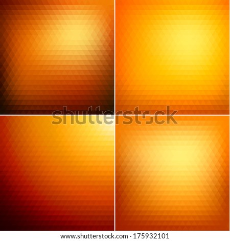 Smooth triangular colorful backgrounds set  - raster version - stock photo