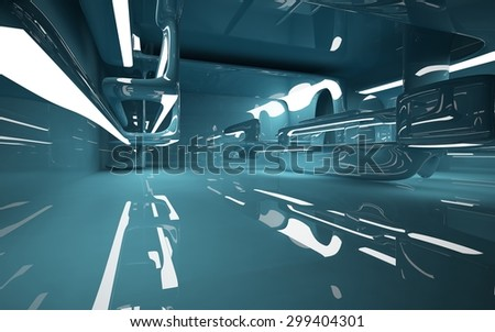 smooth turquoise interior. 3D illustration. 3D rendering - stock photo