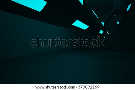 smooth turquoise interior. 3D illustration. 3D rendering