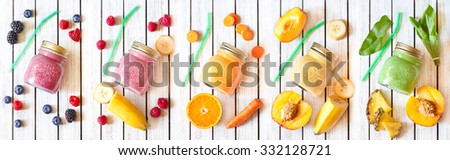 Smoothie banner. Healthy food concept. Fresh smoothies and fresh fruits. - stock photo