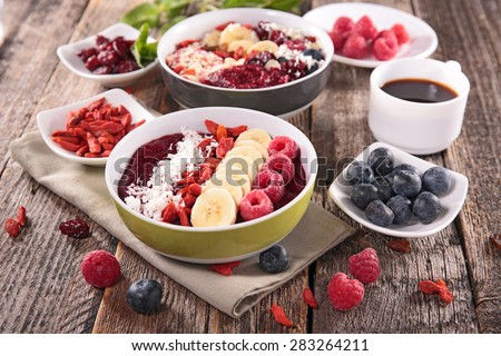 smoothie bowl and berries - stock photo