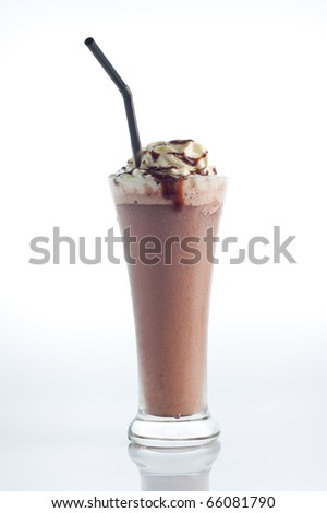 Smoothie chocolate with whipped cream and hot fudge isolate on white background. - stock photo
