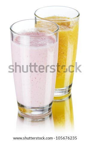 Smoothie drinks isolated on white background - stock photo