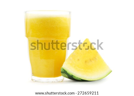 Smoothie from yellow watermelon. - stock photo