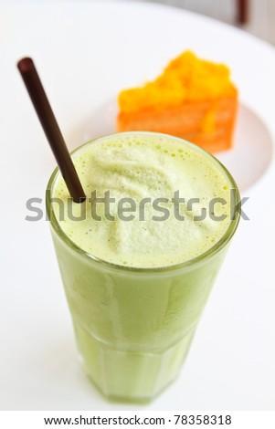 Smoothie green tea - stock photo