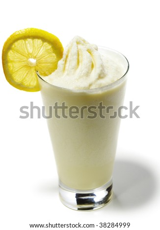 Smoothie - Honey and Mango Served with Lemon Slice - stock photo