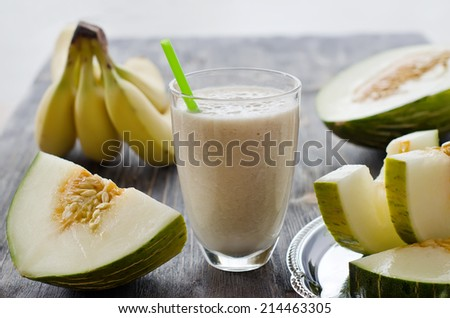 Smoothie in glass selective focus - stock photo
