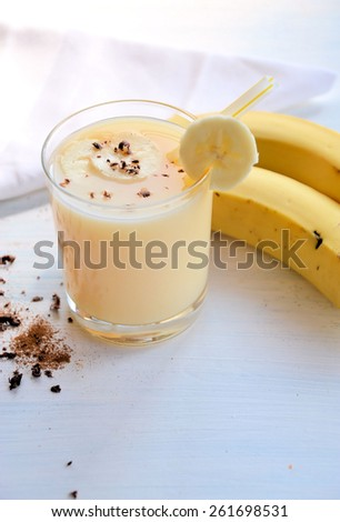 smoothie of banana and chocolate - stock photo