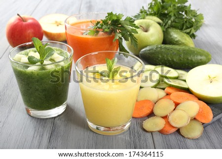 smoothie with fruit and vegetables  - stock photo