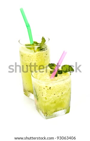 smoothie with kiwi on white background