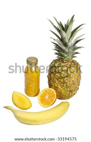 Smoothie with tropical fruits - isolated on white background - stock photo