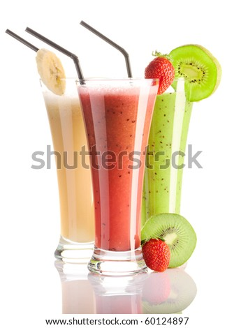 Smoothies isolated on white - strawberry, kiwi & banana - stock photo