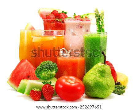 Smoothies of different fruits and vegetables isolated on white - stock photo