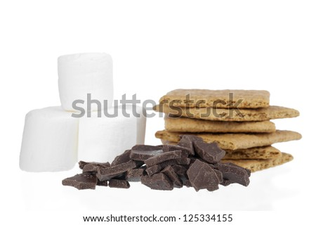 Smores ingredients with marshmallows, graham crackers and chocolate bars - stock photo