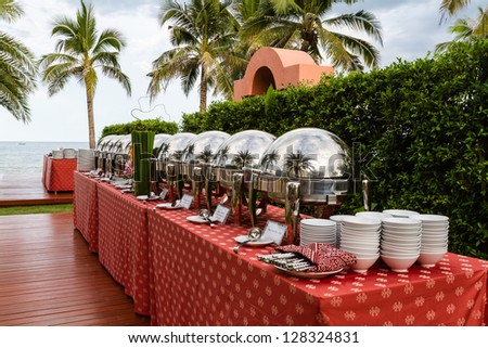 Smorgasbord - food choice in a garden of restaurant - stock photo