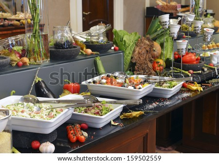 Smorgasbord - food choice in a restaurant - stock photo