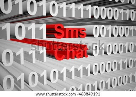 sms chat in binary code, 3D illustration