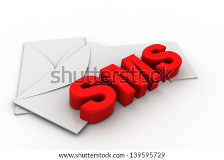 Sms or short message service concept, word sms with mail envelope on white background - stock photo