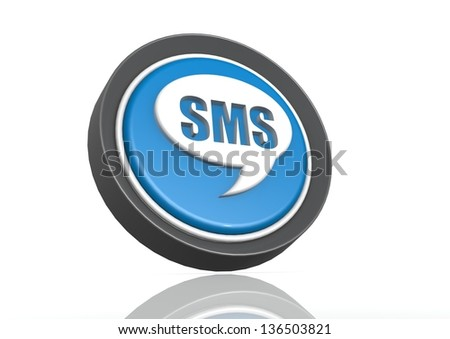 SMS round icon in blue