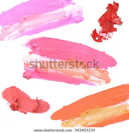 smudged lipstick isolate on white background - stock photo