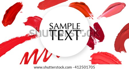 smudged lipstick shades banner - stock photo