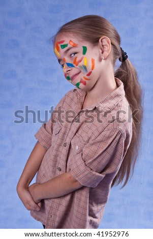 Smudged little painter smiling - stock photo