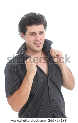 smug look man on a white background - stock photo
